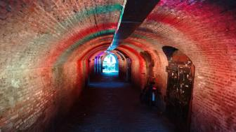 Illuminated tunnel, Utrecht, Netherlands, 2015