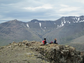 Backpackers stop for a snack at the Skaftafell National Park, Iceland, 2015