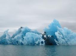 Blue iceberg in the Jokülsárlón lake, Iceland, 2015.